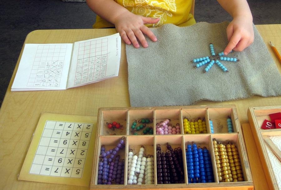 multiplication - coloured bead box