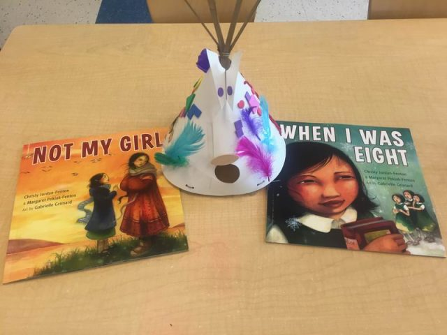 A head piece and books about Aboriginal culture