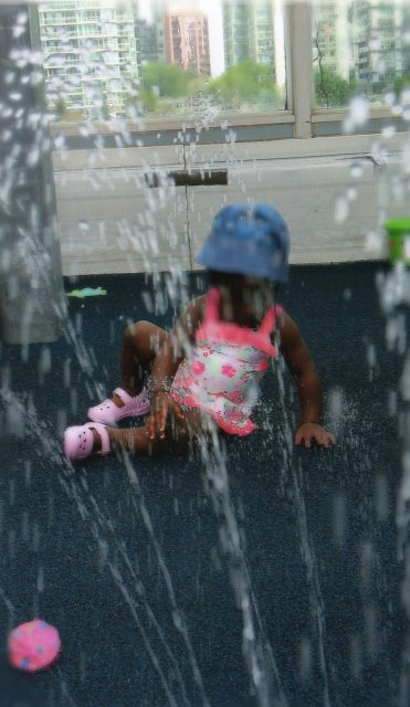 child under 2 during sprinkler day