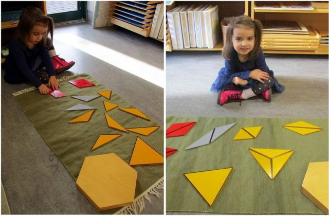 Casa child working on constructive triangles