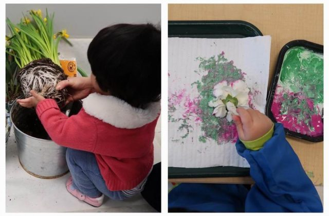 Children planting and painting